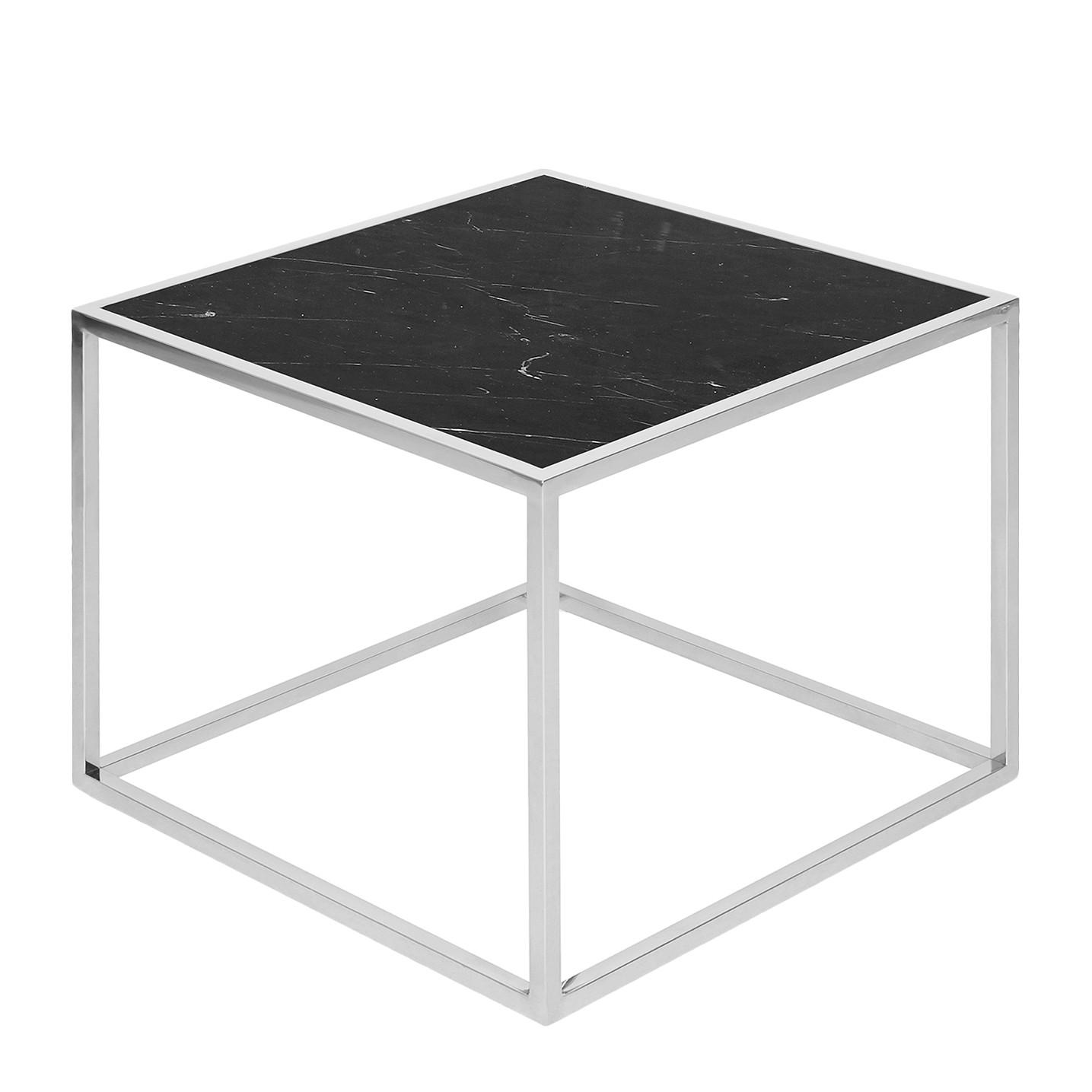 Beistelltisch Jacob - Marmor / Edelstahl - Schwarz / Silber