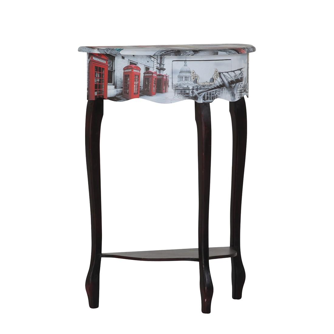 Home 24 - Table basse journey london ii - noir / coloré - verni / imprimé, velvet studio