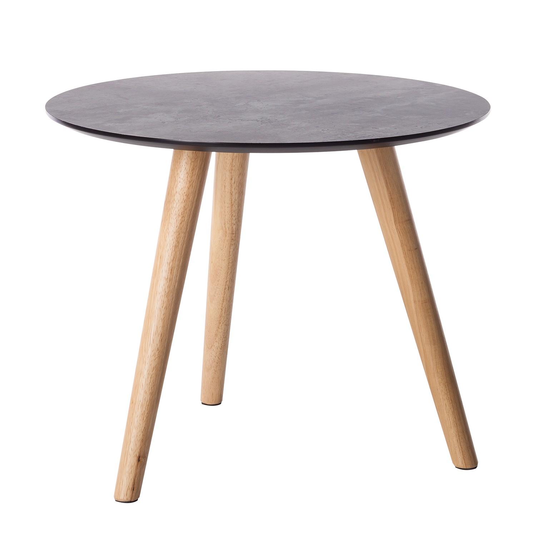 Tavolino Karay - legno lamellare di fico di caucciù - effetto cemento / fico di caucciù, Morteens