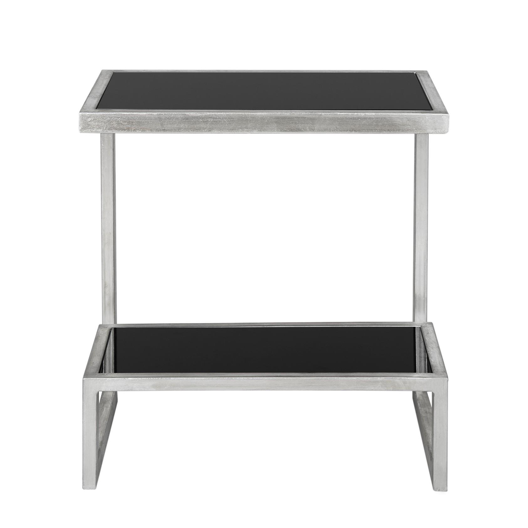 Tavolino Kennedy - Ferro/Vetro Color argento/Nero, Safavieh