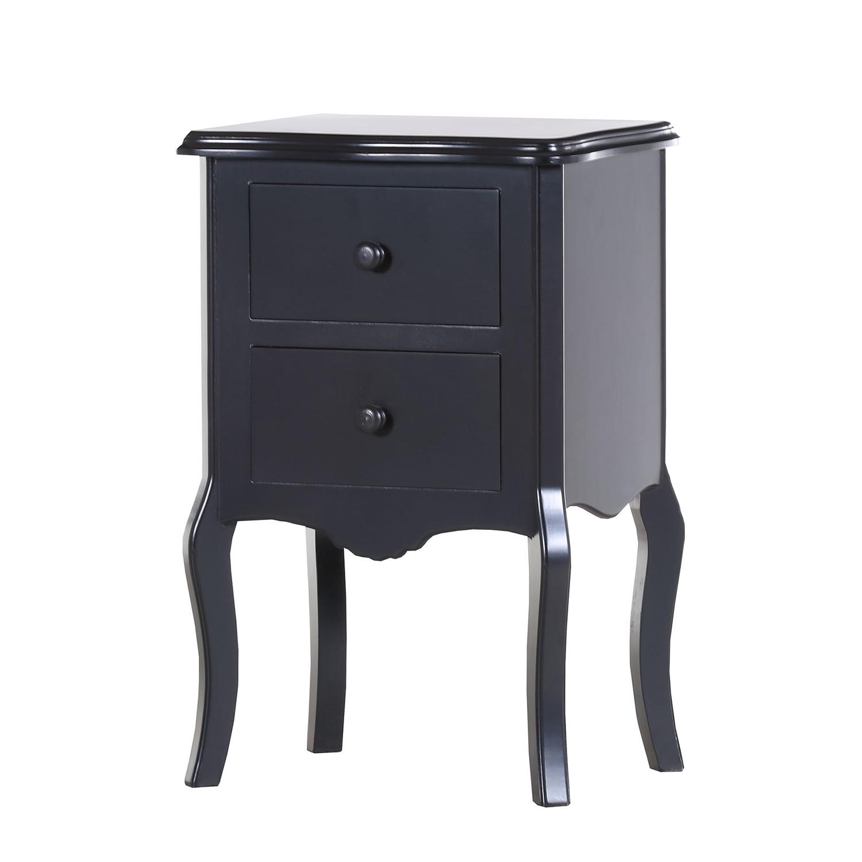 Table d'appoint Lovund - Pin partiellement massif - Noir, Maison Belfort