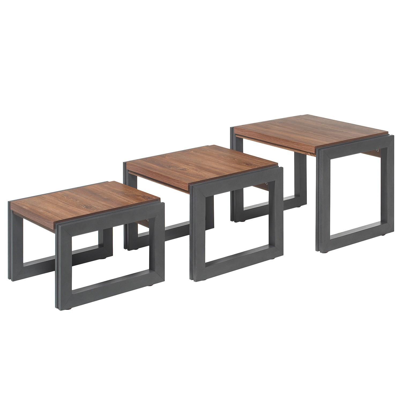 Table d'appoint gigogne Marton (3 éléments) - Imitation chêne Stirling / Anthracite clair, ars manuf
