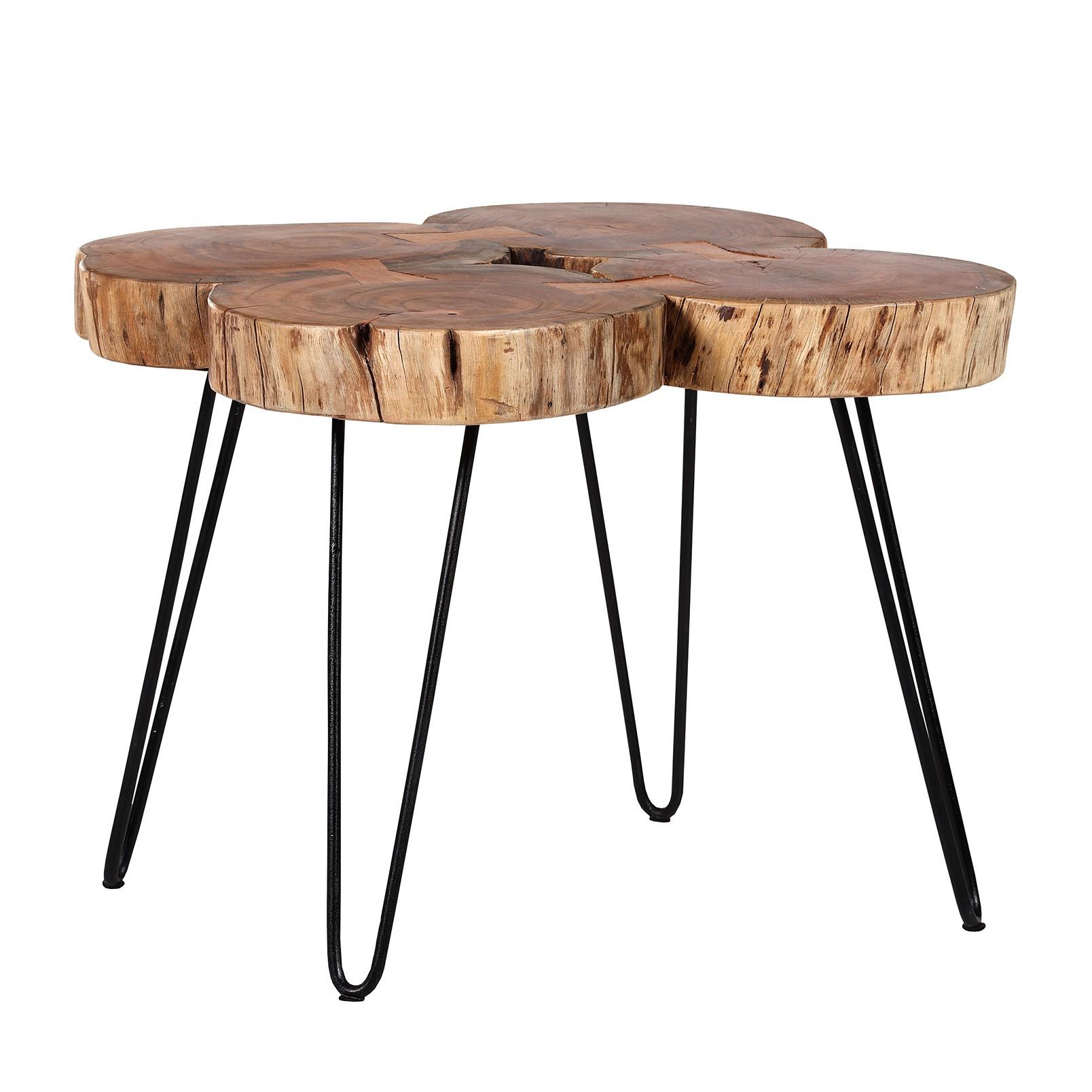 Table d'appoint Mecco II - Acacia massif / Fer - Acacia / Noir, ars manufacti