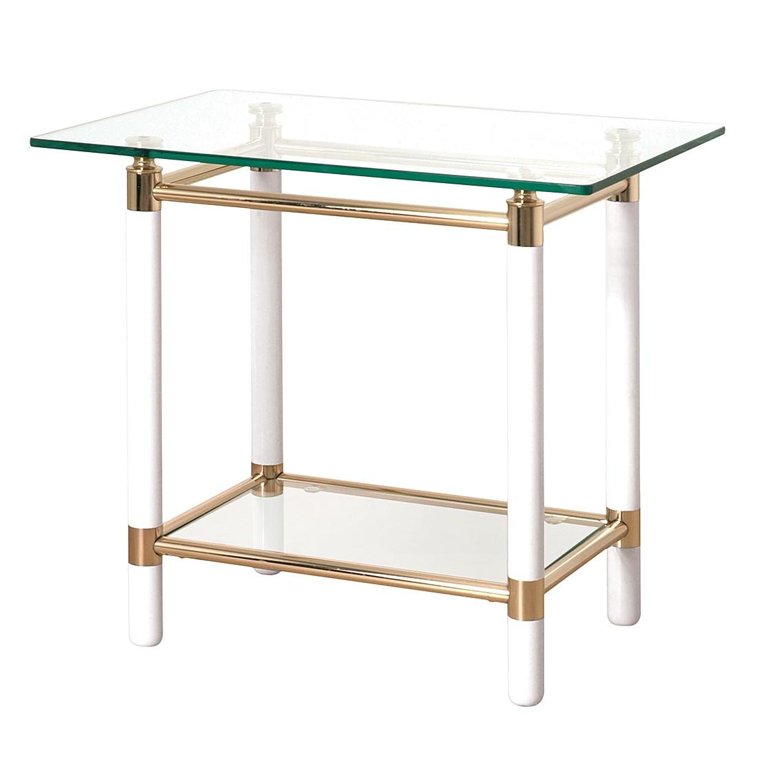 Table d'appoint Moselle II - Acier / Bois massif - Plaqué or / Blanc brillant, Home Design