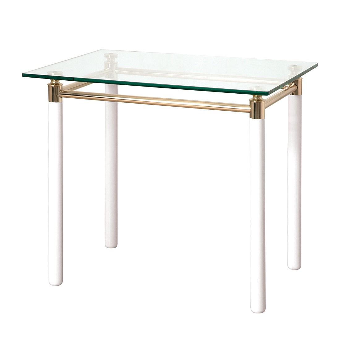 Tavolino moselle iii - acciaio/legno massello dorato/bianco lucido, Home Design