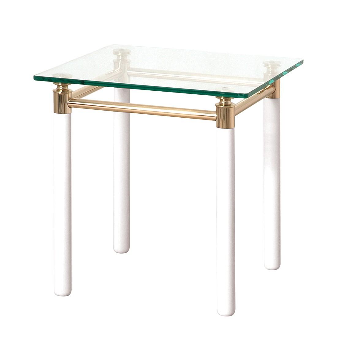 Tavolino d'appoggio Moselle IV - Acciaio/Legno massello Dorato/Bianco lucido, Home Design