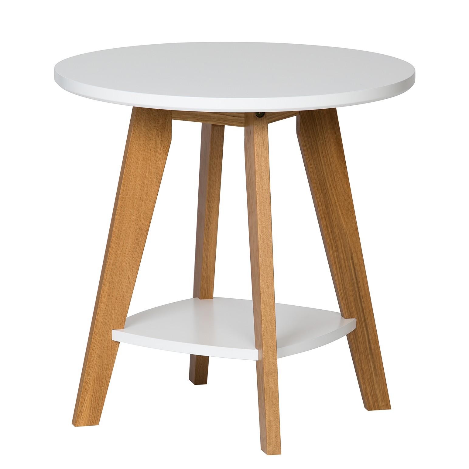 Home 24 - Table d appoint nante - chêne partiellement massif - chêne / blanc, morteens