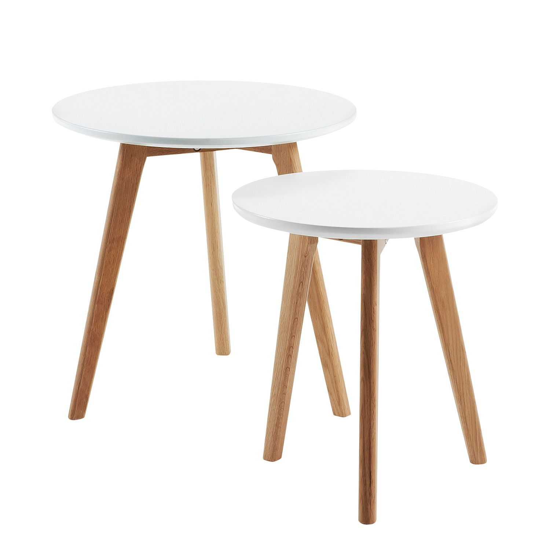 Tavolino Ockelbo (set da 2) - Bianco/Parzialmente in legno massello di quercia, Morteens