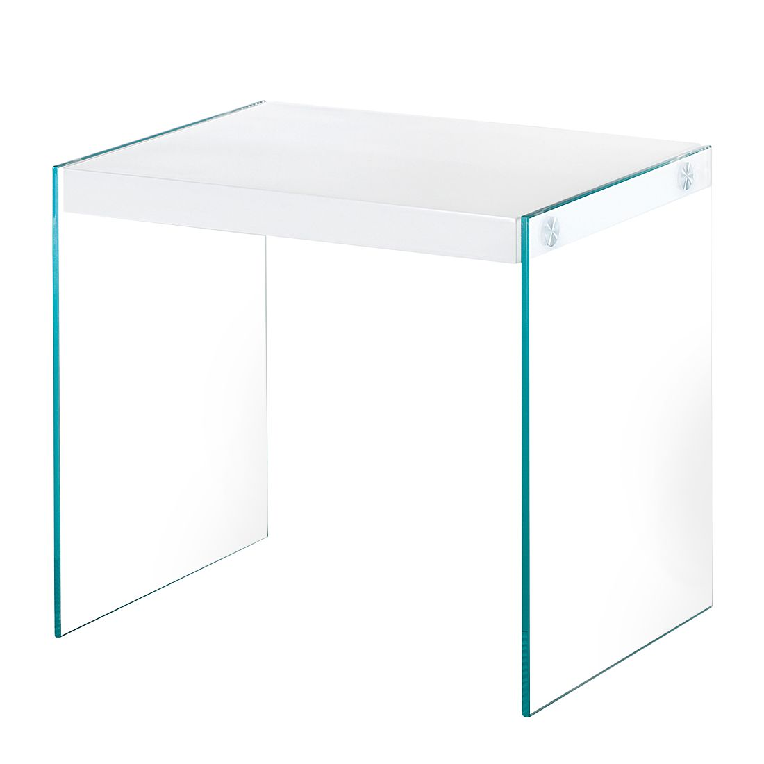 Table d'appoint Savoie - Verre transparent / Blanc brillant, Home Design