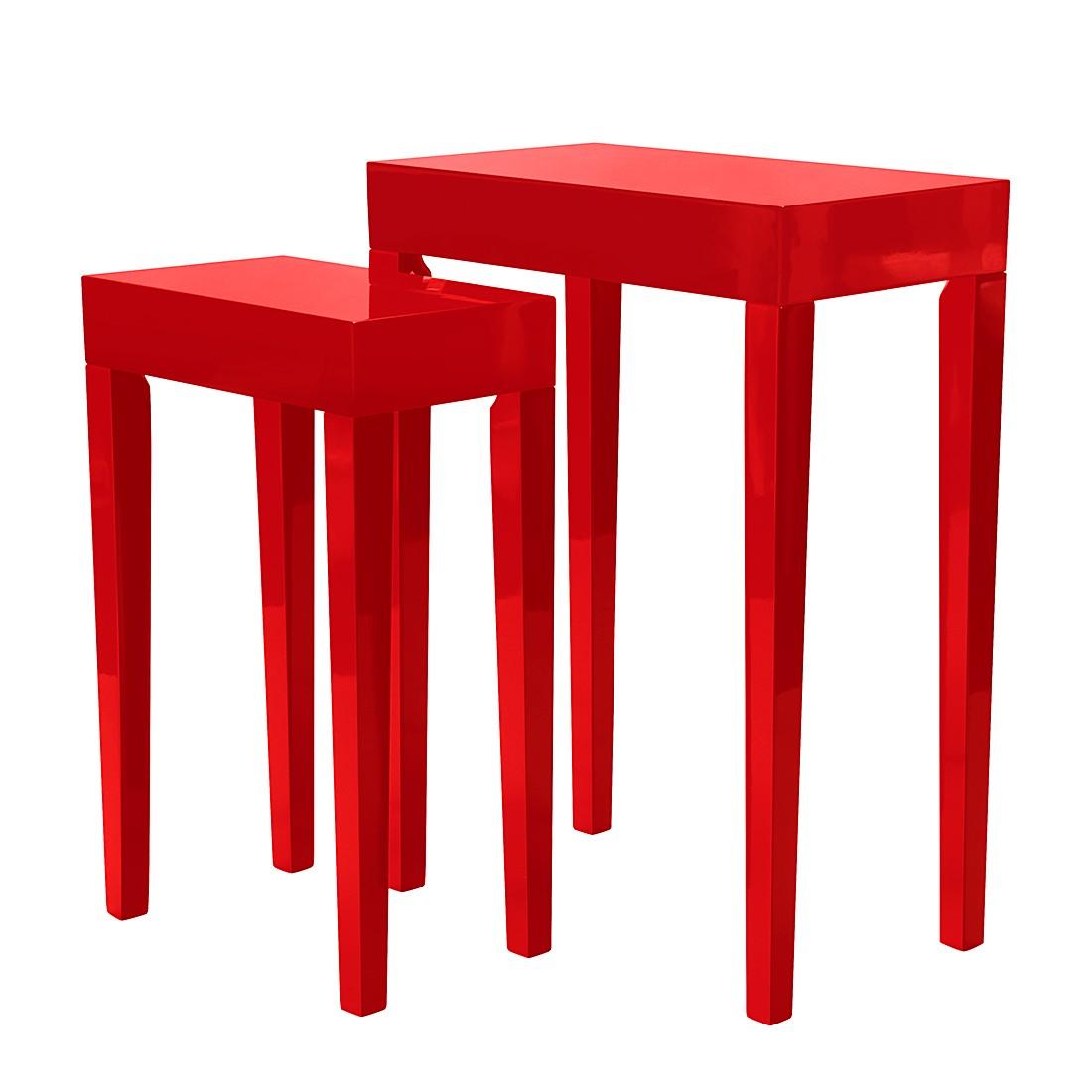 Set di tavoli d'appoggio Gleamy (2 pezzi) - Legno parzialmente massello paulonia - Lucido rosso, roomscape