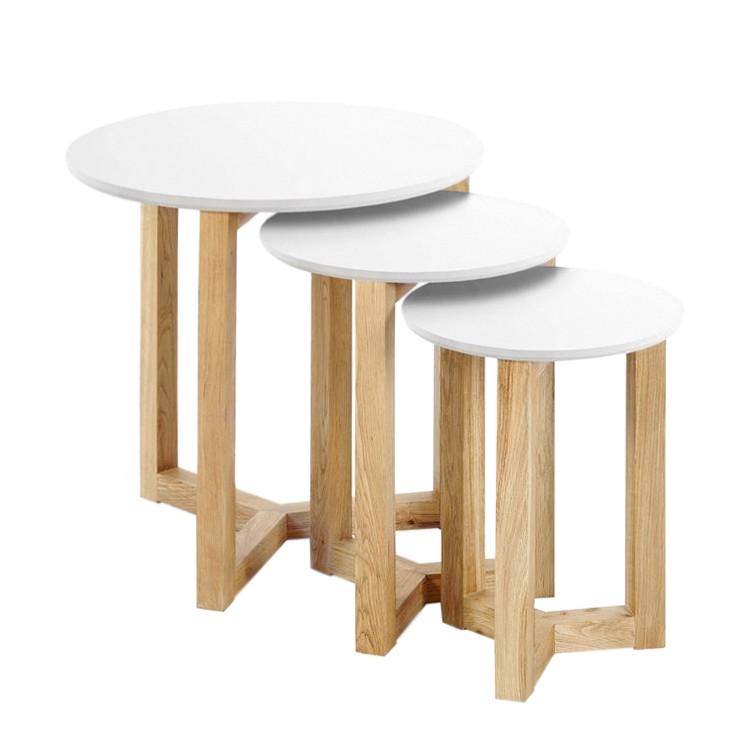 Tavolino Kumano (set da 3) - Parzialmente in legno massello di quercia Bianco opaco, Morteens