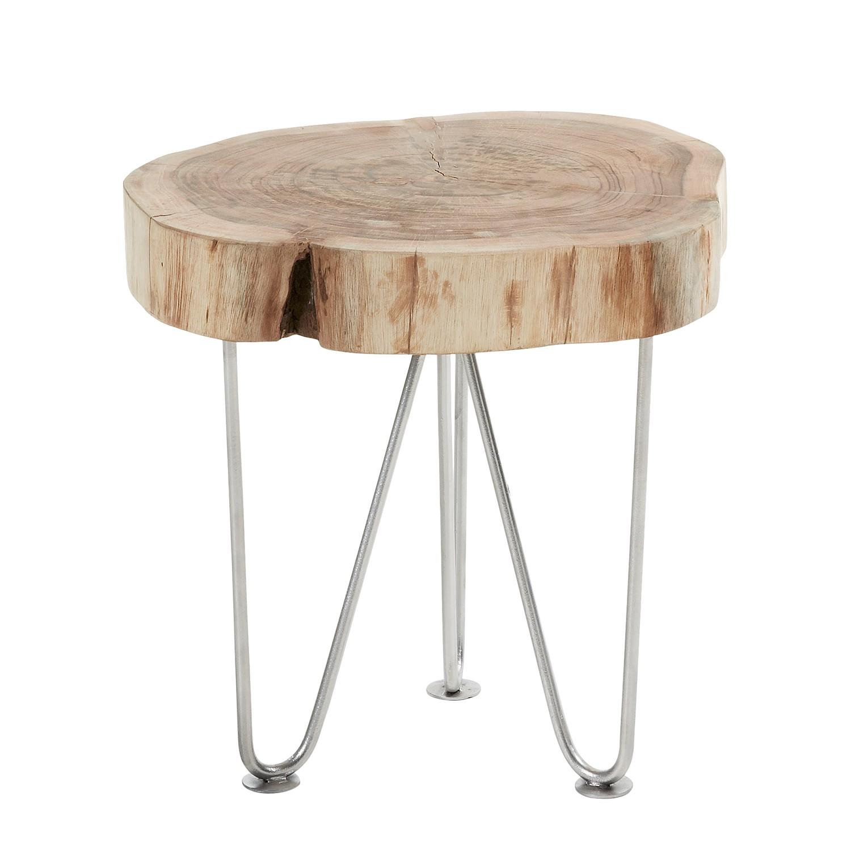 Table d'appoint Toritto - Manguier massif / Acier - Manguier / Argenté, Ars Natura
