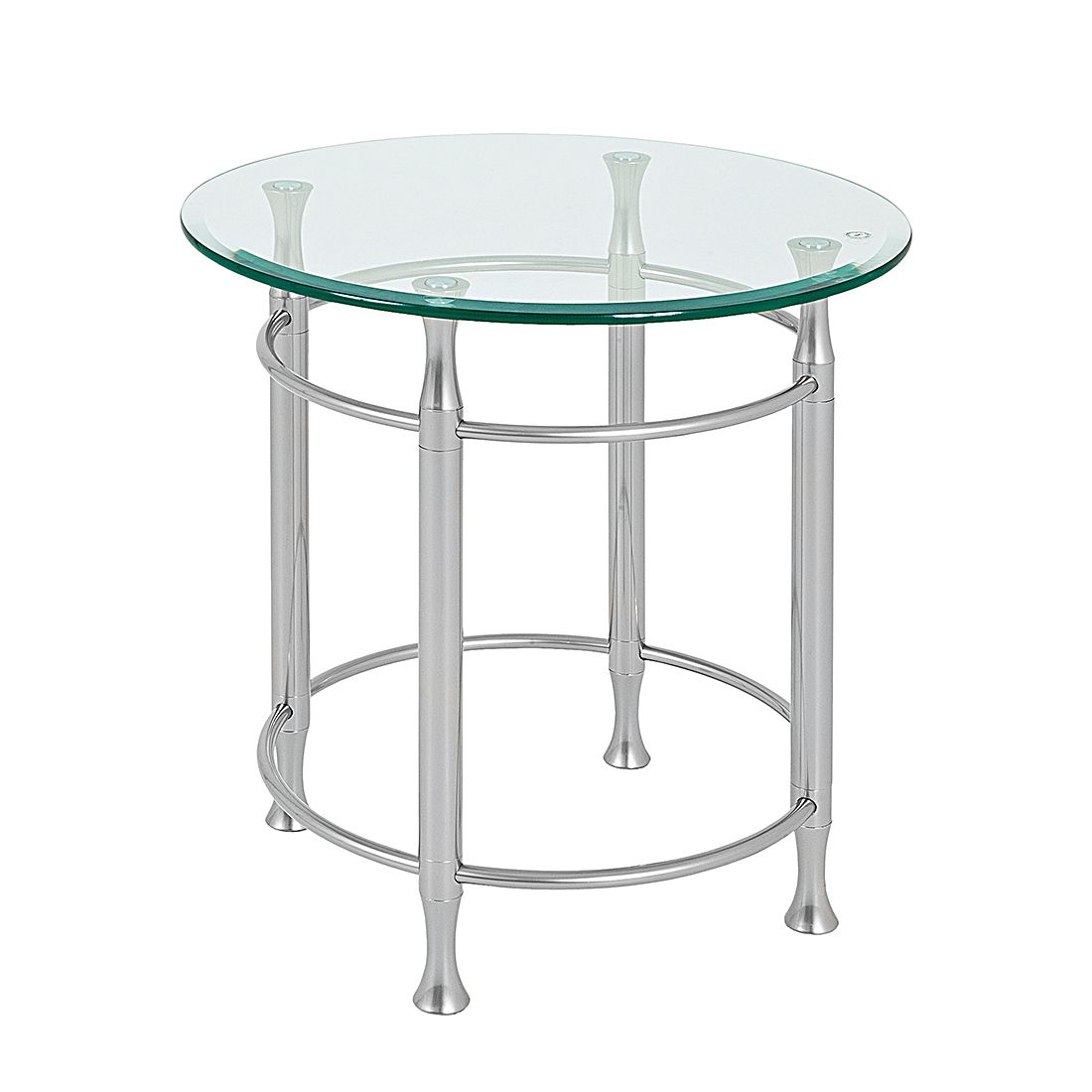 Table d'appoint Vienne - Rond - Aspect aluminium, Home Design