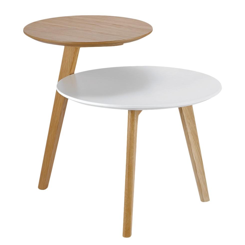 Table d'appoint Wolka - Chêne partiellement massif - Chêne / Blanc, Morteens