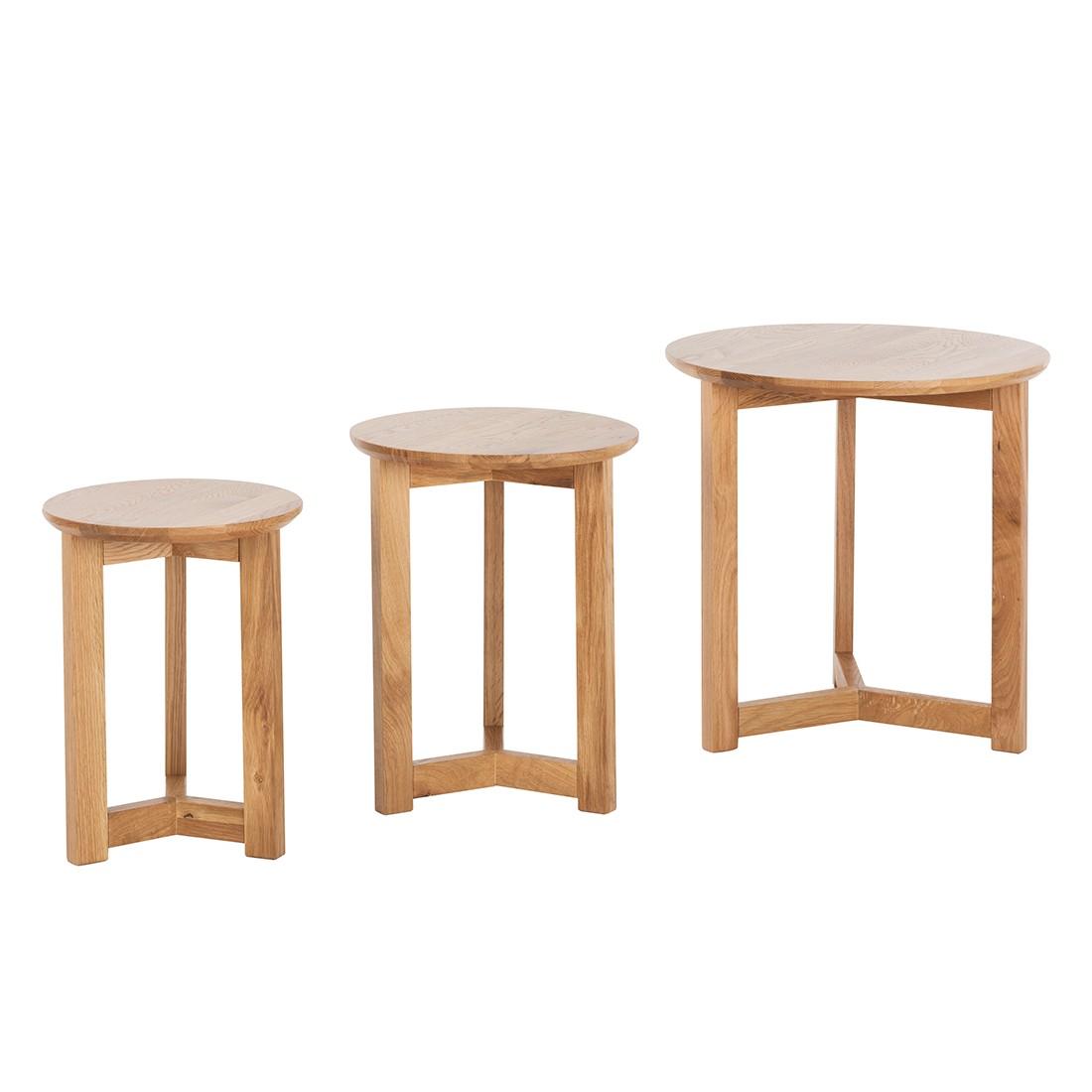 Set di tavolini Past - Legno massello quercia, reconcept