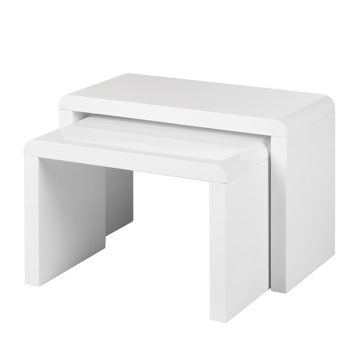 Tavolino Chris (set da 2) - bianco lucido, Fredriks