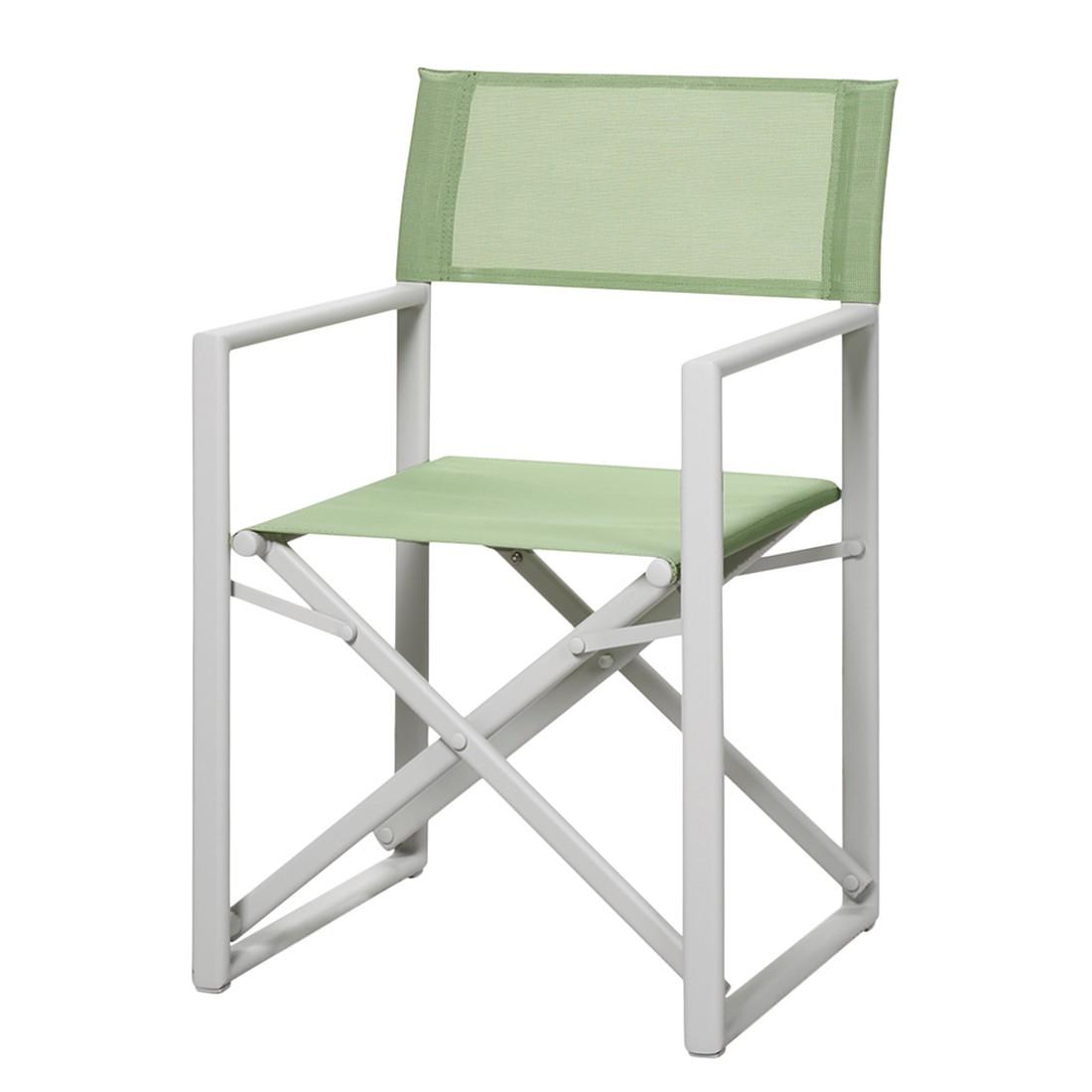 Home 24 - Chaise de jardin messina - aluminium / ergotex crème vert clair, best freizeitmöbel