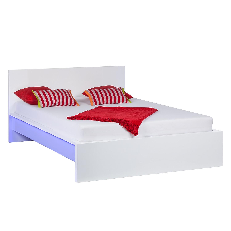 EEK A+, Bett Emblaze (inkl. LED Beleuchtung) - Hochglanz Weiß - LED-Beleuchtung - 140 x 200cm, Fredriks