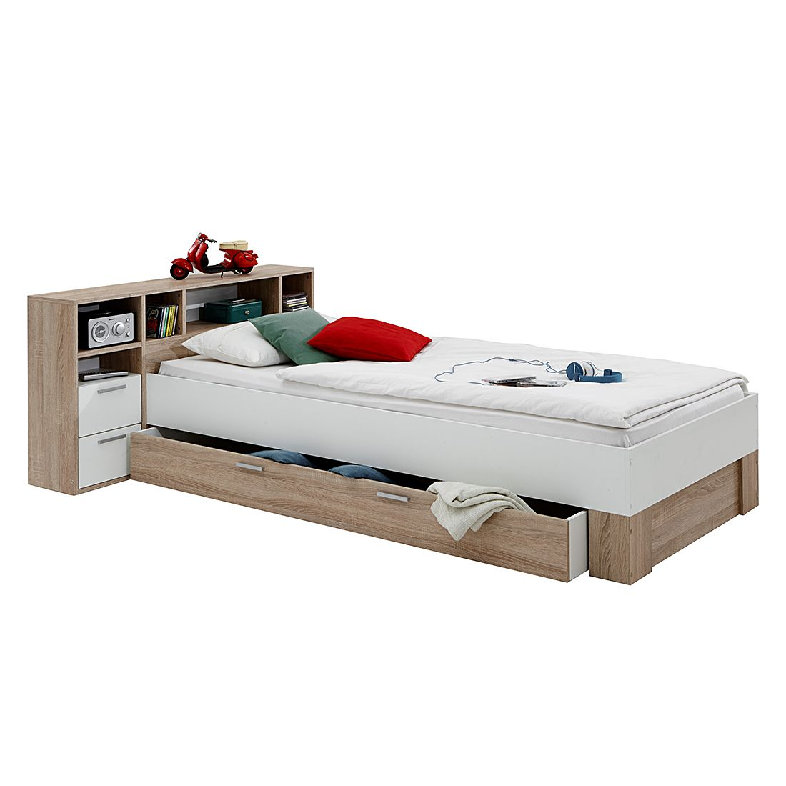 Bed Fabio - eikenhouten look/wit, mooved