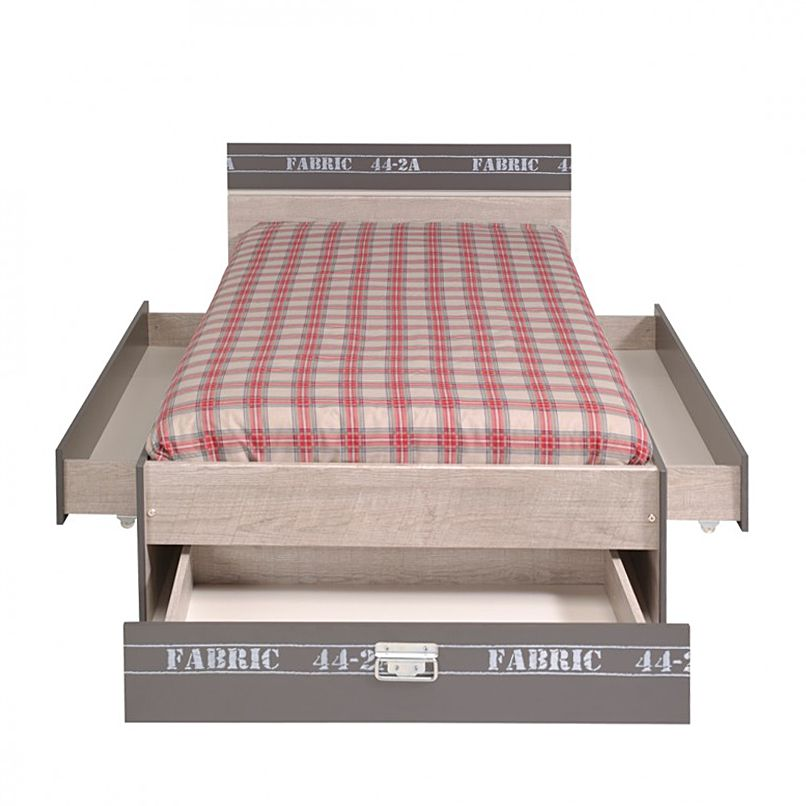 Bed Fabric I - met lades grijze essenhouten look decoratieve print, Parisot Meubles