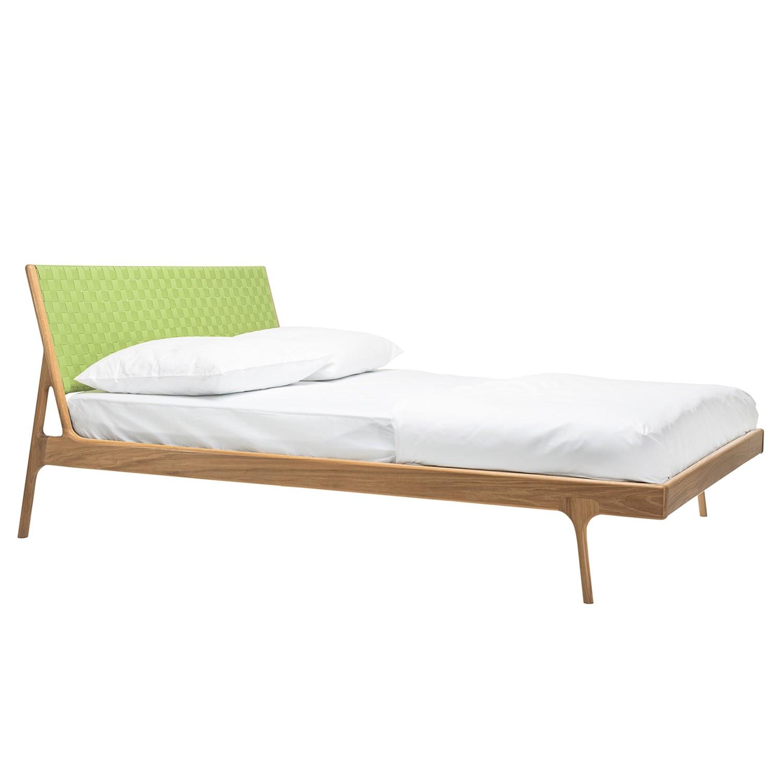 Bett Fawn II - Eiche massiv - 160 x 200cm - Eiche - Grasgrün