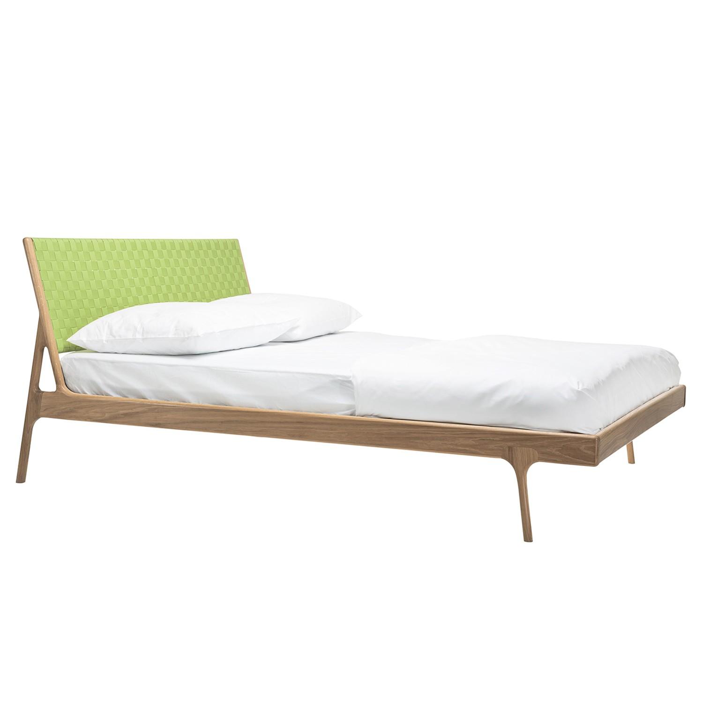 Bett Fawn II - Eiche massiv - 160 x 200cm - Eiche Hell - Grasgrün