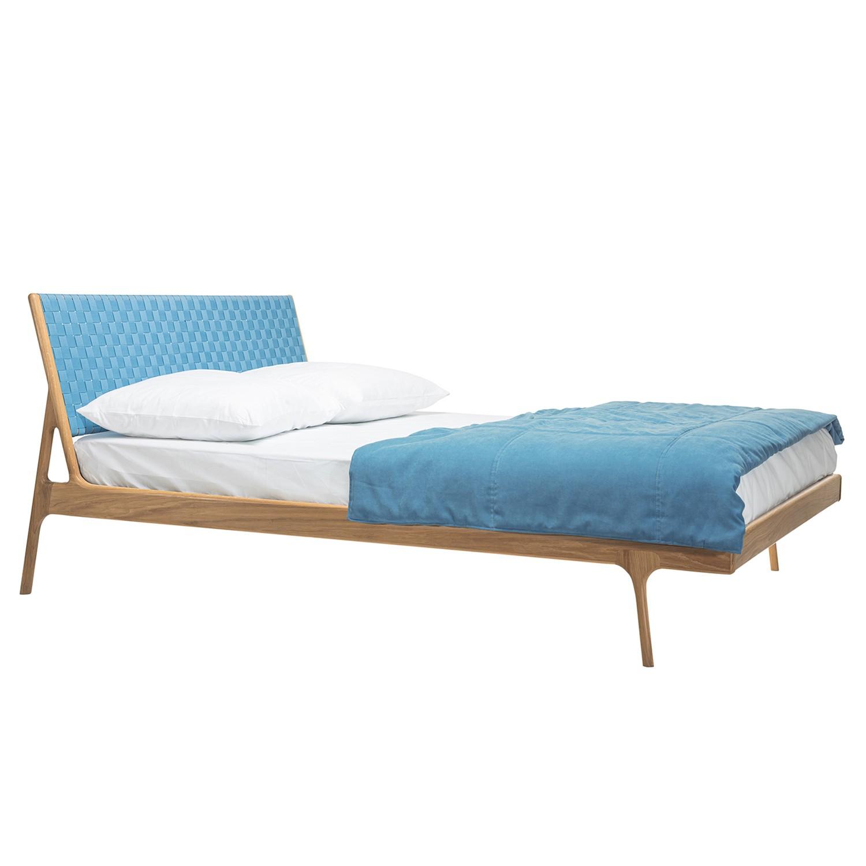 Bett Fawn II - Eiche massiv - 180 x 200cm - Eiche - Eisblau