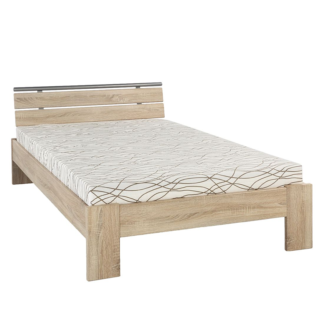 Lit Megan - 120 x 200cm - Structure de lit avec matelas et sommier - Imitation chêne brut de sciage,