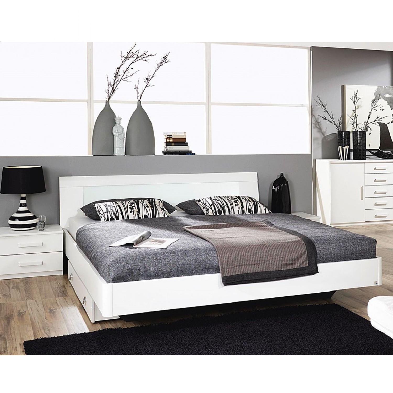 Lit Holy White (3 éléments) - Avec pieds de lit Blanc alpin - 160 x 200cm, Rauch Packs