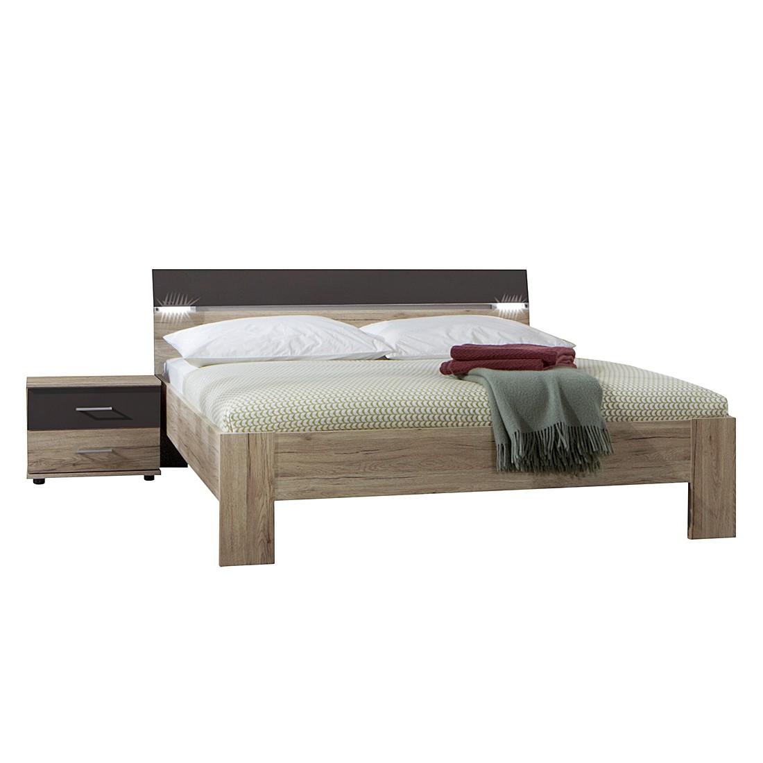 Set de chambre à coucher Saxman II (3 éléments) - Imitation chêne San Remo / Lave, Wimex