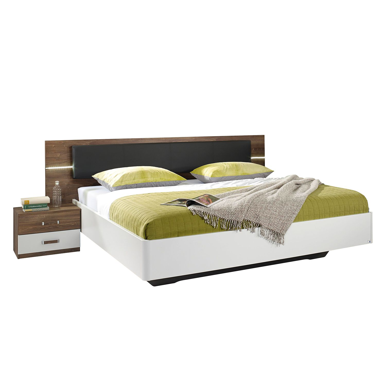 EEK A+, Ensemble de chambre à coucher Leimen - 160 x 200cm - Blanc / Basalte, Rauch Packs