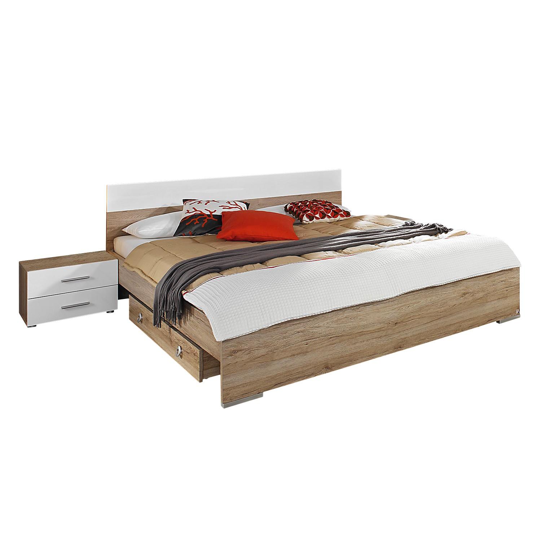 Chambre à coucher Lorca (3 éléments) - 180 x 200cm - Avec coffre à literie - Imitation chêne de San