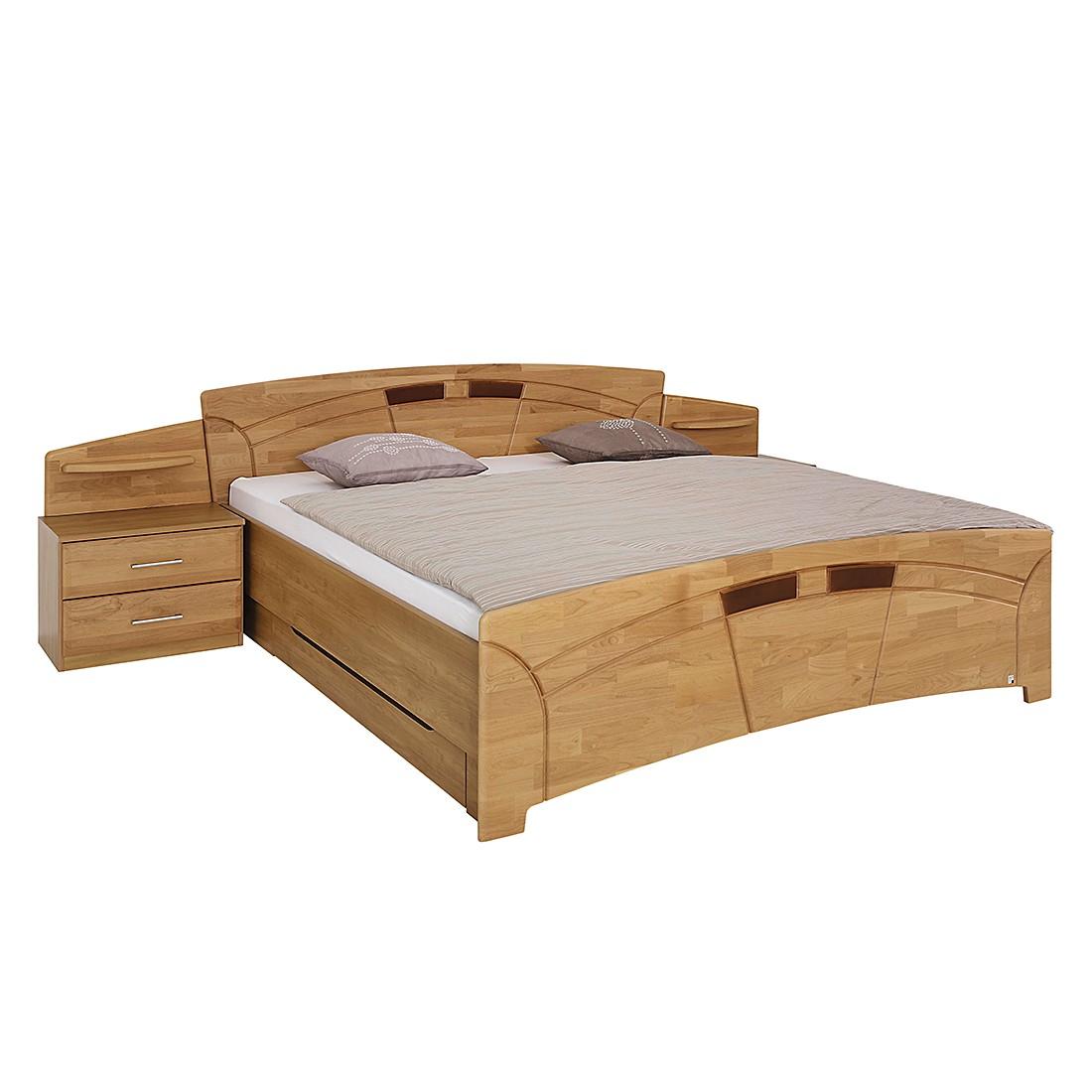 Ensemble de lit Sarah III - Aulne partiellement massif - Verni - 180 x 200 cm - Avec tables de nuit,