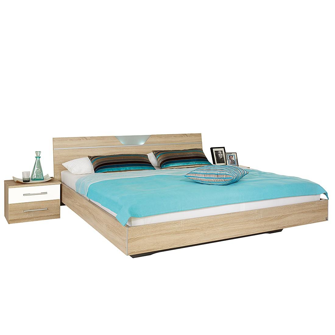 Chambre à coucher Valence-Extra (3 éléments) - 160 x 200cm - Imitation chêne de Sonoma / Blanc, Rauc