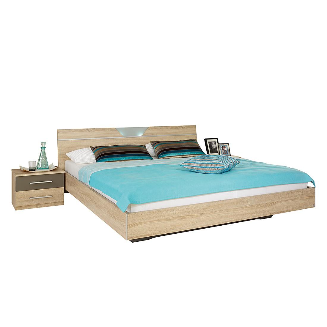 Bed Valence - 160 x 200cm - Sonoma eikenhouten look/lavakleurig, Rauch Packs