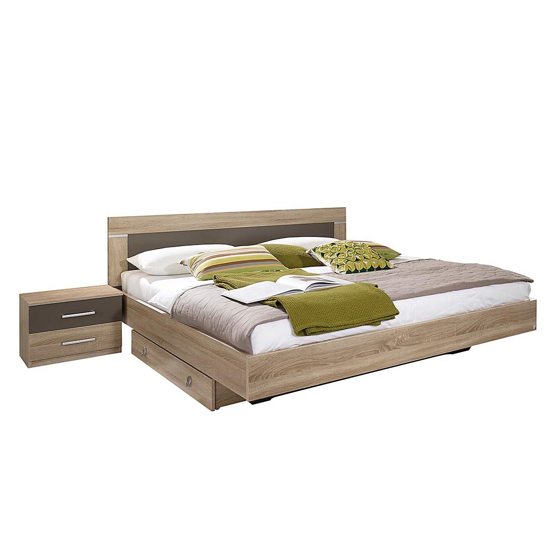 Bed Venlo (3-delig) - 180 x 200cm - Geen bedlade - Sonoma eikenhouten look/lavakleurig, Rauch Packs