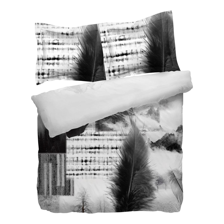 Omkeerbaar beddengoed Ace - katoen - wit/zwart - 135x200cm + kussen 80x80cm, Heckett & Lane