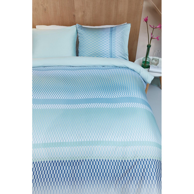 Beddengoed Celeste - katoen - Blauw/groen - 135x200cm + kussen 80x80cm, Beddinghouse