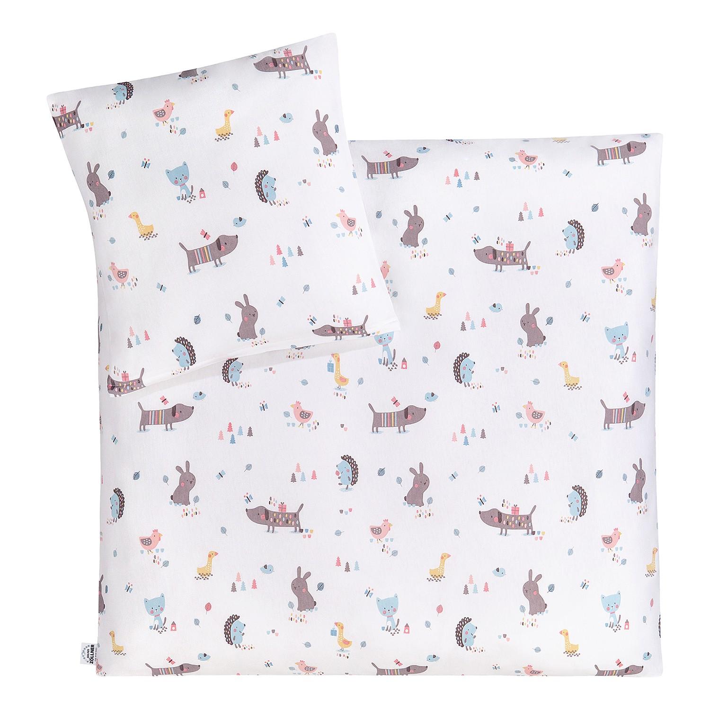 Babybettwäsche Crazy Animals - Jersey Weiß Sale Angebote Terpe