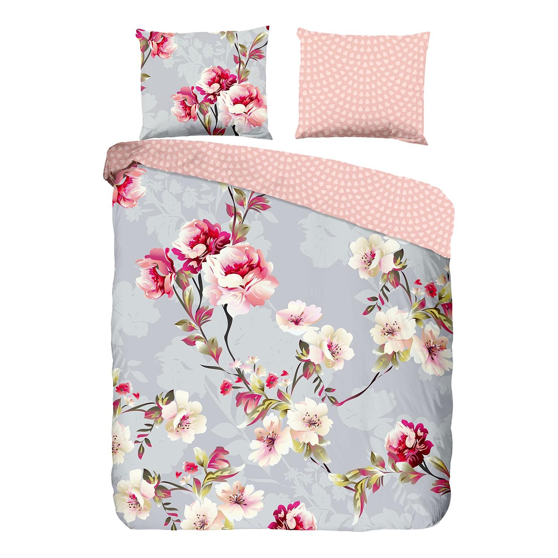 Beddengoed Easky - katoen - lichtgrijs/roze - 240x240cm + 2 kussen 70x60cm, Good morning