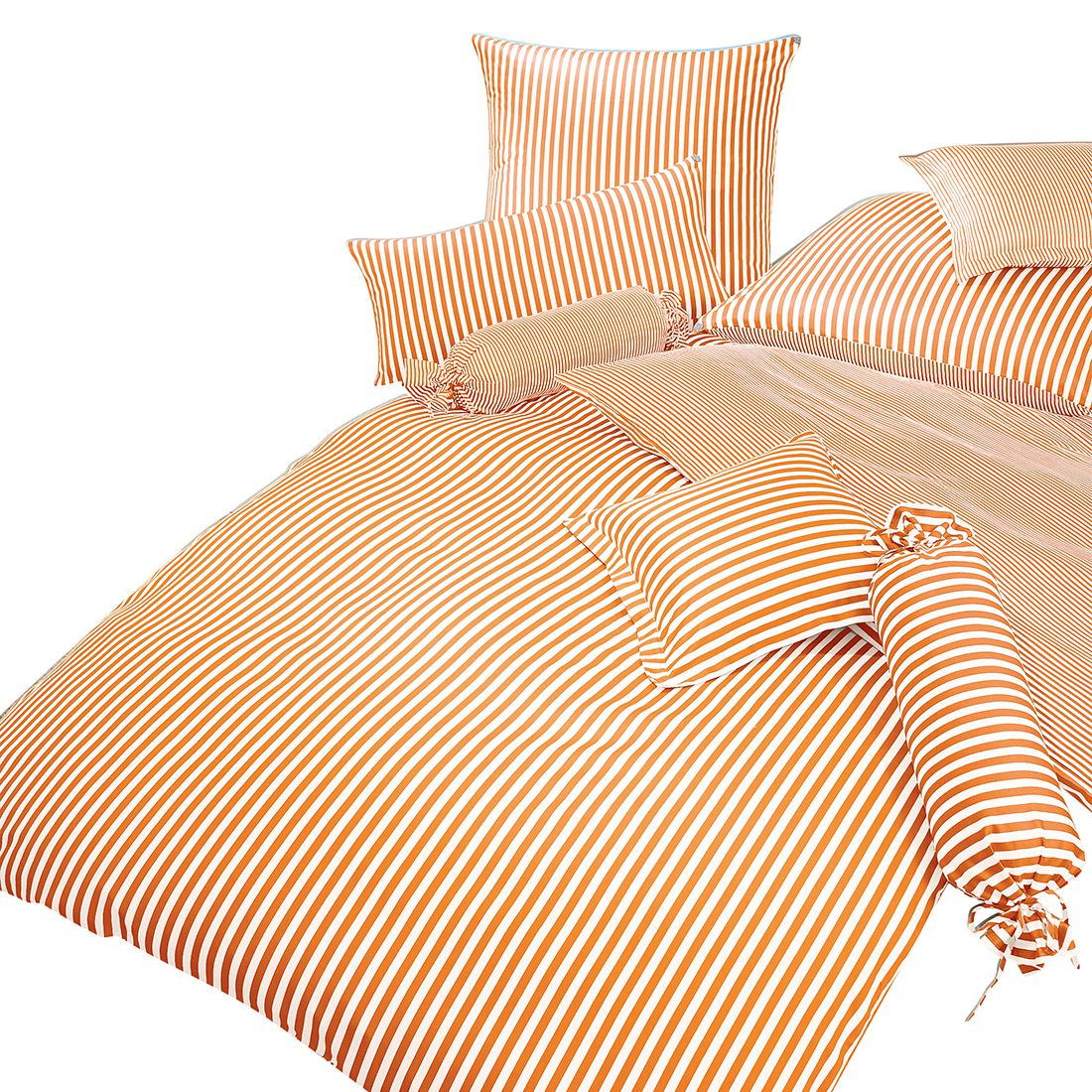 Beddengoed Classic I - Oranje/wit - 155x220cm + kussen 80x80cm, Janine