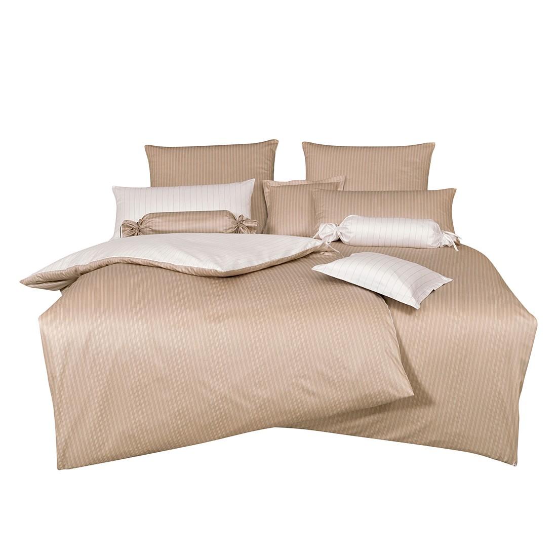 Home 24 - Parure de lit classic ii - beige / blanc - 135 x 200 cm + coussin 80 x 80 cm, janine