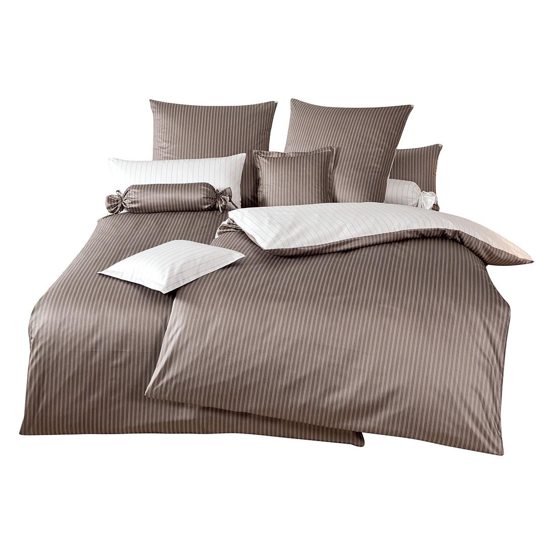 Home 24 - Parure de lit classic ii - marron / blanc - 135 x 200 cm + coussin 80 x 80 cm, janine