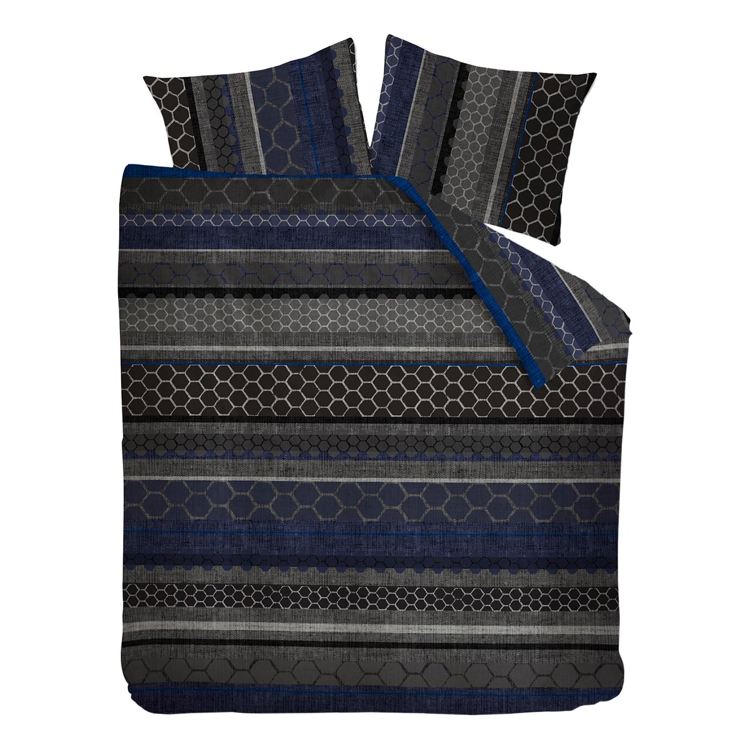 Beddengoed Glade - katoen - Donkergrijs/royal blue - 200x220cm + 2 kussens 80x80cm, OILILY