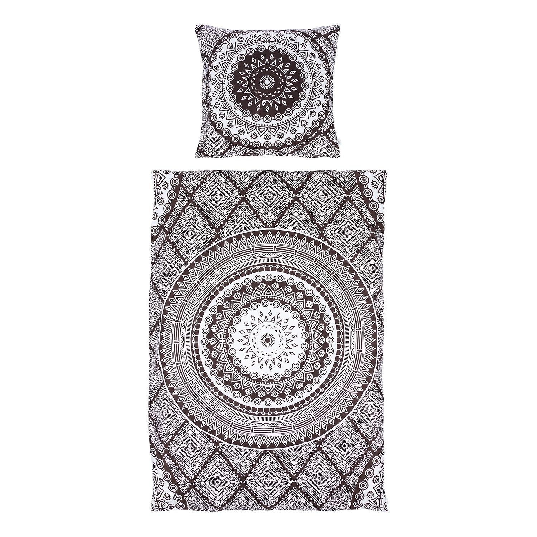Beddengoed New Mandala - katoen - antracietkleurig/wit - 155x200cm + kussen 80x80cm, Eva Padberg Collection