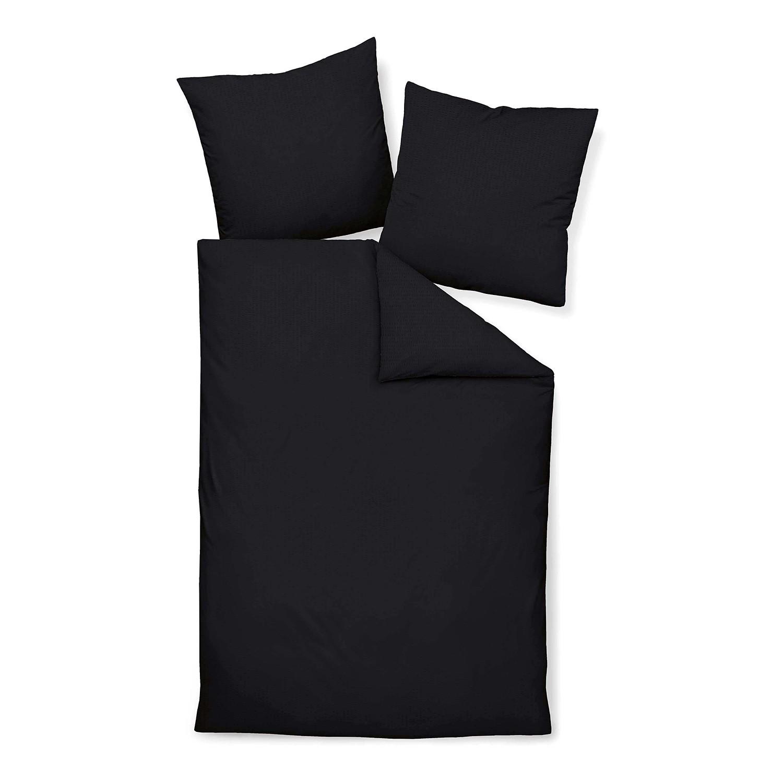 Home 24 - Parure de lit piano uni - noir - 240 x 220 cm + coussin 80 x 80 cm, janine