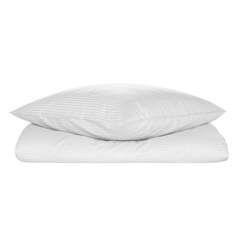 Bettwäsche Riga - Baumwollstoff - Weiß - 135 x 200 cm + Kissen 80 x 80 cm