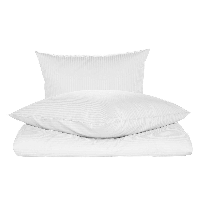 Bettwäsche Riga - Baumwollstoff - Weiß - 200 x 200 cm + 2 Kissen 80 x 80 cm