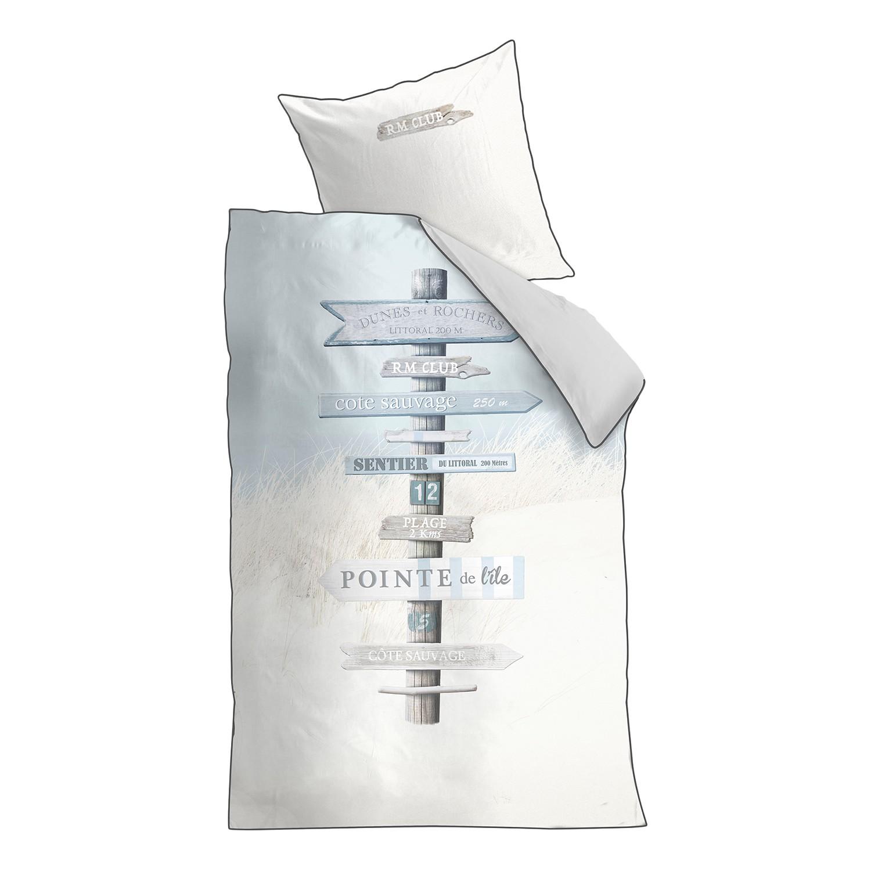 Beddengoed Rivièra Maison Sauvage - katoen - beige/lichtblauw - 155x220cm + kussen 80x80cm, CAPESIDE Westcoast