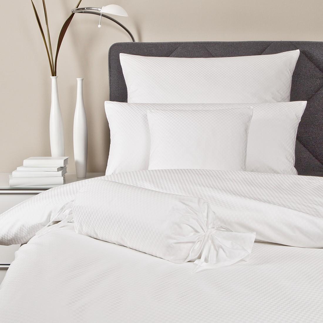 Home 24 - Parure de lit rubin - uni - blanc - 135 x 200 cm + coussin 80 x 80 cm, janine